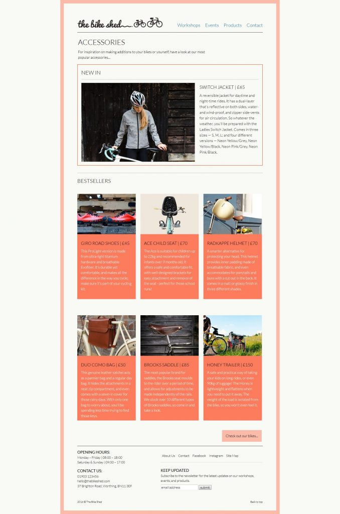 The Bike Shed: Accessories page showing the description and price for each product
